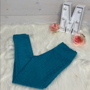 Cool Koss Textured Leggings In Turquoise